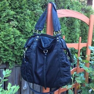 Andrew Marc black nylon/ leather boho bag